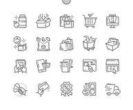 El vector perfecto Bien-hecho a mano del pixel que hace compras alinea ligeramente la rejilla 2x de los iconos 30 para los gráfic Imagen de archivo libre de regalías