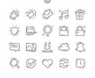 El vector perfecto Bien-hecho a mano general del pixel alinea ligeramente la rejilla 2x de los iconos 30 para los gráficos y Apps Fotografía de archivo