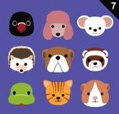El vector plano de la historieta del icono de las caras del animal fijó 7 (el animal doméstico) Imagenes de archivo