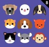 El vector plano de la historieta del icono de las caras del animal fijó 8 (el animal doméstico) Fotografía de archivo libre de regalías