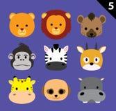 El vector plano de la historieta del icono de las caras del animal fijó 5 (el safari) Imagen de archivo libre de regalías