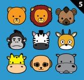 El vector plano de la historieta del icono del movimiento de las caras del animal fijó 5 (el safari) Fotografía de archivo libre de regalías