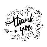 El vector que la tarjeta de felicitación hecha a mano con el texto le agradece adornó el ornamento floral abstracto negro ilustración del vector
