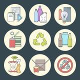 El vector recicla los iconos inútiles de la segregación Imagen de archivo