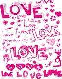 El vector redacta amor Fotos de archivo