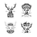 El vector retro principal de los ciervos badges, las etiquetas, logotipos libre illustration