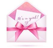 El vector rosado de la fiesta de bienvenida al bebé envuelve con el arco Fotos de archivo libres de regalías