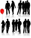 El vector siluetea a amigos (hombre y las mujeres) Fotografía de archivo