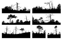 El vector siluetea el árbol stock de ilustración