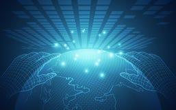 El vector, toca el futuro, tecnología del interfaz, el futuro de la experiencia del usuario abstraiga el fondo stock de ilustración