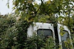 El vehículo comercial abandonado visto se pegó en un seto imágenes de archivo libres de regalías