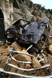 El vehículo en terremoto Foto de archivo libre de regalías