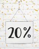 El veinte por ciento del 20% del PA de oro de viernes del descuento negro de la venta el 20% foto de archivo libre de regalías
