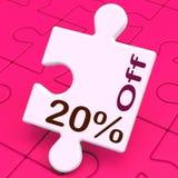El veinte por ciento del rompecabezas significa el descuento o la venta el 20% Fotos de archivo libres de regalías