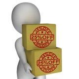 El veinticinco por ciento de la disminución de las cajas 25 Imagenes de archivo