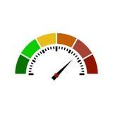 El velocímetro o el metro de clasificación firma el elemento infographic del indicador Ilustración del vector Fotografía de archivo