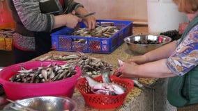 El vendedor de los pescados de la mujer limpia y cortando pescados frescos en mercado de pescados almacen de metraje de vídeo