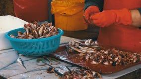 El vendedor de los pescados limpia y cortando pescados frescos en mercado de pescados almacen de video
