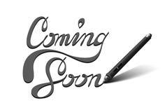 El venir letras pronto caligráficas Imagenes de archivo