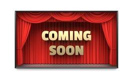 El venir pronto cartel con el ejemplo rojo de las cortinas 3D de la etapa fotos de archivo
