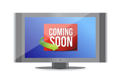 El venir pronto en la pantalla de la TV Imagen de archivo libre de regalías