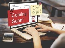 El venir pronto haciendo publicidad de concepto de la muestra de Annoucement Fotos de archivo