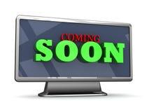 El venir pronto letras 3D en una TV Imagen de archivo