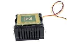El ventilador con el disipador de calor y la CPU Foto de archivo libre de regalías