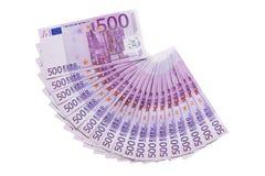 el ventilador de 500 billetes de banco de los euros aisló Fotografía de archivo