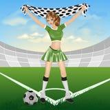 El ventilador de fútbol de la muchacha Foto de archivo