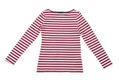 El verano de la mujer viste la camiseta rayada roja del polo aislada en el blanco, endecha del plano, mofa de la visión superior  Imágenes de archivo libres de regalías