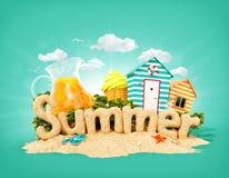 El verano de la palabra hecho de la arena en la isla tropical Ejemplo inusual 3d de las vacaciones de verano ilustración del vector