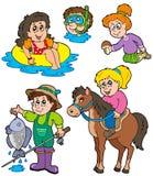 El verano embroma la colección de las actividades stock de ilustración