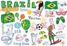 El verano en el Brasil garabatea la colección ilustración del vector