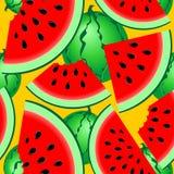 El verano fresco de las sandías da fruto modelo inconsútil de la materia textil del vector del modelo stock de ilustración
