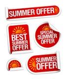 El verano ofrece etiquetas engomadas. ilustración del vector