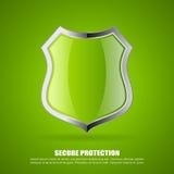 El verde asegura el icono del escudo Imágenes de archivo libres de regalías