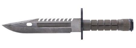 El verde caqui del cuchillo militar moderno en bolsillo aisló blanco Imagen de archivo