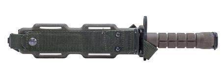 El verde caqui del cuchillo militar moderno en bolsillo aisló blanco Fotos de archivo