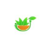 El verde come y logotipo sano Foto de archivo