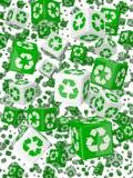 el verde 3d recicla dados Fotografía de archivo libre de regalías