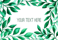 El verde de la acuarela deja el marco para casarse y el diseño de tarjetas Imagen de archivo libre de regalías