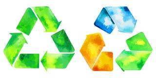 El verde de la acuarela recicla el icono y el ico reciclado watercolore del agua Imagen de archivo libre de regalías