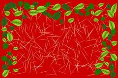 El verde deja el marco de la frontera sobre los palillos de madera minúsculos texturizados en fondo coloreado rojo Ejemplo del ve Imágenes de archivo libres de regalías