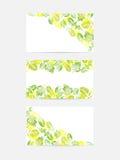 El verde deja tarjetas de felicitación stock de ilustración