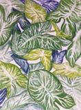 El verde grande del ejemplo del dibujo deja el ornamento floral por los lápices en colores pastel Fotos de archivo