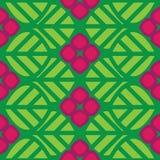El verde inconsútil abstracto del modelo se va y las flores rosadas Foto de archivo