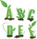 El verde pone letras a un B C D E F Ilustración del Vector