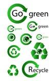 El verde recicla iconos Foto de archivo libre de regalías