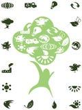 El verde recicla iconos en el árbol Ilustración del Vector